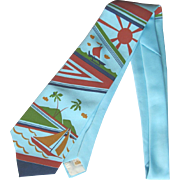 Vintage Necktie with Sailboats and Palm Trees in Stylized Island Paradise Motif
