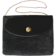 Vintage Black Convertible Clutch with Suede Leather Body and Black Patent Flap by Lewis