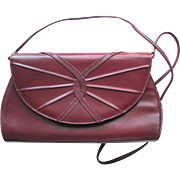 Vintage Convertible Handbag in Maroon Leather with Snakeskin Accents and Cross-Body Strap