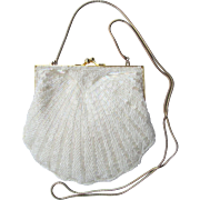 Vintage Beaded Evening Bag in White with Iridescent Beads - Scalloped Edges - Convertible Chai