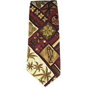 Vintage Hawaiian Necktie with Island Motif in Burnt Umber and Sepia with Auburn Shades