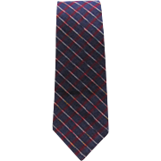 SALE Vintage Necktie in Blue and Red Plaid with White Accents