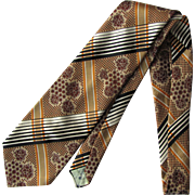 Vintage 1970's Necktie with Plaid Combined with Floral Design in Russet and Tawny Shades