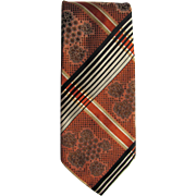 Vintage Necktie with Shades of Bronze and Burnt Umber in Plaid and Floral Motif