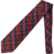 SOLD Vintage Nordstrom Plaid Necktie in Shades of Red and Blue with Green and Yellow Accents