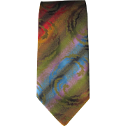 Vintage 1960's Wembley Multi-Colored Tie with Swirling Jacquard Design