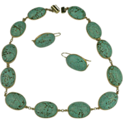 SALE 1960's 14k Gold Turquoise Necklace & Earrings Set.