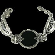 SALE Black Onyx and Sterling Bracelet.