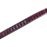 SALE Ruby and 14k White Gold Tennis Bracelet.