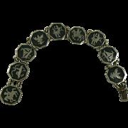 SALE Octagon Shaped Sterling Silver Niello Theme Bracelet.