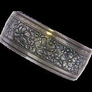 SALE Danecraft Wide Sterling Repousse Floral Cuff Bracelet.
