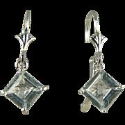 SALE Aquamarine Earrings~14k White Gold~Pierced.