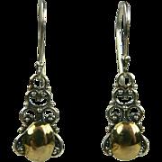 SALE Two Tone Sterling Drop Earrings.