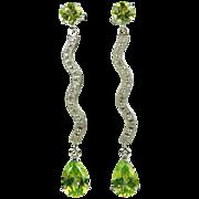 SALE Peridot & Diamond Drop Earrings~14k.