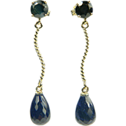 SALE Sapphire Drop Earrings~14k.