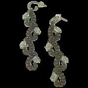 SALE Gorgeous Garnet & White Topaz Chandelier Drop Earrings.
