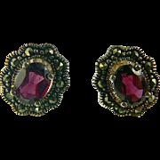 SALE Garnet & Marcasite Sterling Stud Earrings.