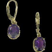 SALE Amethyst Drop Earrings In 14k Yellow Gold.
