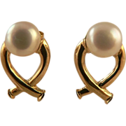 """SALE """"X"""" Design Cultured Freshwater Button Pearl Earrings."""