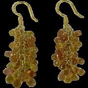 SALE Yellow Sapphire Cluster Earrings, 18k, Pierced.