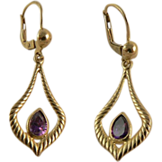 SALE Lovely 14k  Gold Amethyst Earrings, Pierced Ears.