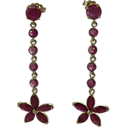 SALE Natural Ruby Earrings-14k.