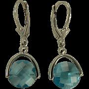 SALE 6.5 CWT Blue Topaz Earrings - 14k White Gold.