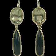 SALE Drama! '50s Lemon Quartz & Black Onyx Drop Earrings, 14K.