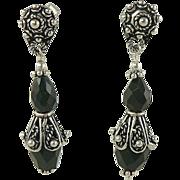 SALE Black Onyx Drop Earrings -~Sterling ~ Pierced.