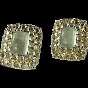 SALE Moonstone & Aquamarine 14k Gold Earrings.