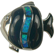 SALE Opal and Onyx Fish Pendant  or Charm - 18k