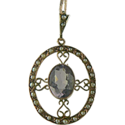 SALE Victorian Amethyst & Seed Pearl Pendant Necklace~14K.