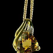 SALE Citrine & Diamond Pendant Necklace-10k Gold.