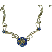 SALE Blue Enamel Floral Necklace-Sterling-British.