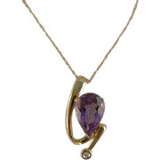 SALE Amethyst & Diamond 10k Pendant Necklace.