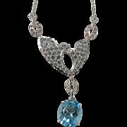 SALE Blue Topaz, Tourmaline & Diamond Necklace-10k