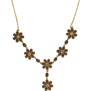 SALE Mid-Century Garnet and Moonstone Drop Necklace.