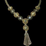 SALE Moonstone & Amethyst Sterling, Vermeil Drop Necklace.