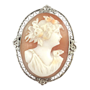 SALE 14k White Gold Carved Carnelian/Shell Cameo Brooch.