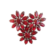SALE Red Flower WEISS Vintage Brooch-Lovely.