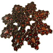 SALE Garnet Star Burst Brooch in 14k Yellow Gold.