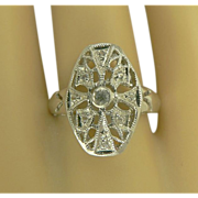 SALE White Sapphire & Sterling Ring-Size 61/2.