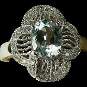 SALE 14k  Art Deco Aquamarine & Diamond Ring. Size 8.