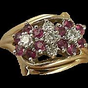 SALE Ruby & Diamond Ring-Floral Motif-14k, Size 7.