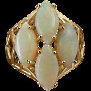 SALE White Opal  Ring - 14k - Size 6 1/2.