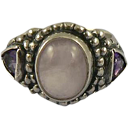 SALE Sterling Pink Quartz & Amethyst Ring, Size 7.