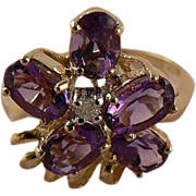 SALE Amethyst  Ring - 10k Yellow Gold, Size 6.25
