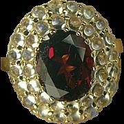 SALE Garnet & Blue Moonstone Ring-14k-Size 6 3/4.