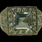 SALE 18k Aquamarine  Ring-Size 7.