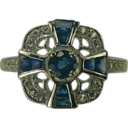 Genuine Blue Sapphire and Diamond Ring-14k-Size 7.